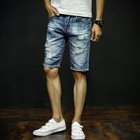 复古牛仔短裤男士夏季薄款五分裤男夏天破洞中裤宽松5分马裤子潮