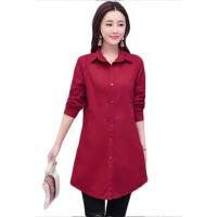 春秋新款韩版长袖衬衫女装衬衣中长款纯色上衣开衫打底衫