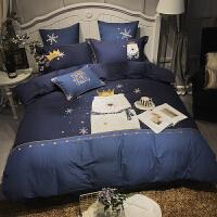 伊丝洁家纺秋冬贴布绣床上用品全棉磨毛四件套卡通小熊刺绣床上用品床上被套