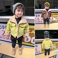 畅印 男童冬装外套17韩版新款儿童加绒夹克女童宝宝灯芯绒加厚上衣jyl 咖啡 80cm