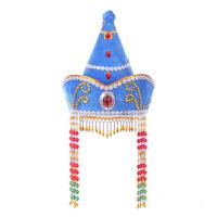 女士蒙古族舞蹈帽子头饰 少数民族婚礼服饰蒙古袍配饰 尖顶帽 可调节