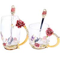 欧式珐琅彩水杯玫瑰水晶玻璃水杯家用耐热花茶杯咖啡杯礼品杯 透明蓝玫瑰高矮组合(黄盒) 水滴勺