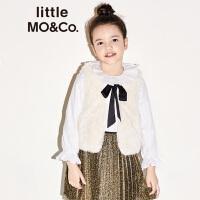 littlemoco童装秋季新品女童衬衫拉夫领荷叶边领白衬衫长袖上衣