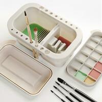 多功能洗笔桶水桶美术涮笔筒颜料水粉绘画水彩画画油画调色盘调色盒三合一