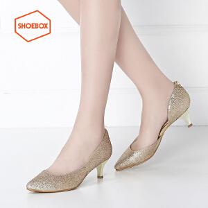 达芙妮旗下shoebox鞋柜春季新款性感侧空套脚女鞋潮 时尚酒杯跟休闲单鞋女