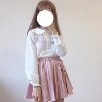 秋冬女装日系软妹可爱童趣水果刺绣宽松长袖娃娃领衬衫上衣学生潮