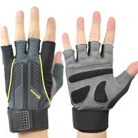 健身手套 男女 半指运动手套 锻炼 训练 哑铃举重 加长护腕 手套 自耐黄色 L