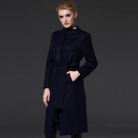 毛呢大衣女秋冬欧美女装新款系腰带圆领毛呢裙加厚毛呢外套 深蓝 S