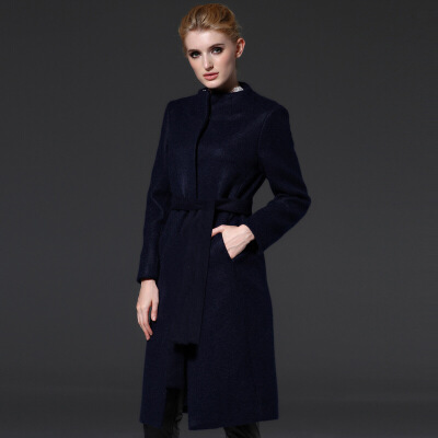 毛呢大衣女秋冬欧美女装新款系腰带圆领毛呢裙加厚毛呢外套 深蓝 S 一般在付款后3-90天左右发货,具体发货时间请以与客服协商的时间为准