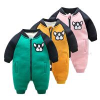 女婴儿衣服3个月男宝宝加厚外出新生儿连体衣冬装
