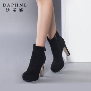 达芙妮女靴冬季高跟靴子防水台女鞋优雅超高锥形跟侧拉链女短靴