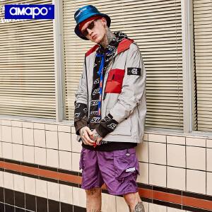 【限时抢购到手价:175元】AMAPO潮牌大码男装秋季新款加肥加大男士外套宽松魔术贴连帽夹克