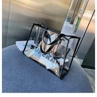 夏季单肩大包包女包2019新款潮韩版百搭大容量透明子母包手提包包