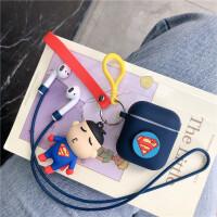 苹果蓝牙airpods1保护套AirPods2硅胶卡通蜘蛛侠耳机适用 加厚 蓝色超人+配件 AirPods1/2代通用