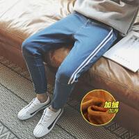 点就 冬季加绒牛仔裤男士小脚裤青少年弹力铅笔裤修身裤潮韩版长裤大码A122