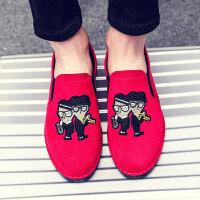 夏天男士一脚蹬帆布鞋男鞋透气老北京布鞋男款韩版夏季懒人休闲鞋