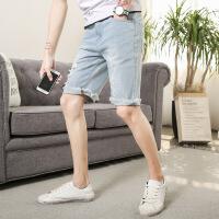时尚潮流个性猫须破洞牛仔裤男夏季修身韩版五分短裤男生中裤 浅蓝