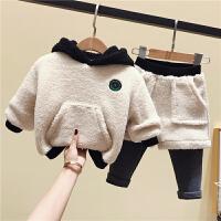 男宝宝洋气套装儿童男童洋气羊羔绒冬装两件套
