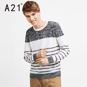 以纯A21男士条纹针织衫长袖圆领毛衣男 冬季套头打底衫青年新款秋冬潮
