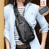男士胸包皮包休闲时尚单肩包斜挎包韩版潮男包胸前背包腰包 黑色送钱包