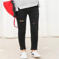 18春夏装版弹力磨破显瘦牛仔铅笔裤女直筒裤修身显瘦百搭时尚