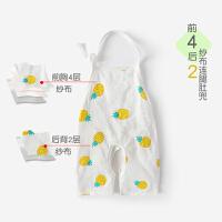 婴儿衣服初生儿纱布短袖连体衣宝宝睡衣夏季薄款爬服