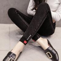 加绒裤女冬季新款加厚保暖弹力牛仔铅笔裤黑棉小脚长裤外穿打底裤