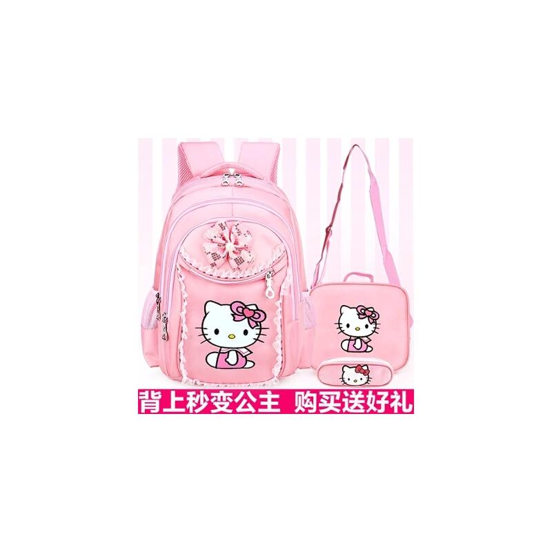 小学生女孩儿童书包1-3-6年级可爱公主kt猫双肩背包 6-12周岁透气
