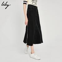 Lily2018夏新款女装气质毛边拼接中长款牛仔半身裙118249G6915