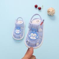 夏季新款男女宝宝凉鞋包头软底透气0-3岁婴儿学步鞋