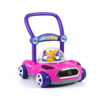 宝宝学步车手推车婴儿童音乐玩具6-18个月可调速助步车防侧翻 奔驰款玫红+学步带 送电池贴花