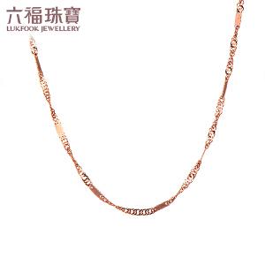 六福珠宝 18K金彩金百搭款水波纹链女款项链 定价 L18TBKN0013R―L18TBKN0013W