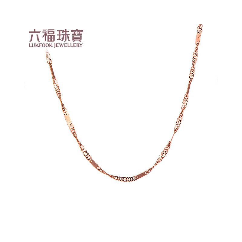 六福珠宝 18K金彩金百搭款水波纹链女款项链 定价 L18TBKN0013R—L18TBKN0013W支持使用礼品卡