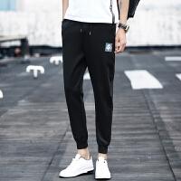 男裤子男士休闲裤春季新款修身九分裤男韩版小脚裤哈伦裤潮流