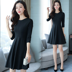 RANJU然聚2018女装春季新品新款赫本风小黑裙时尚淑女连衣裙