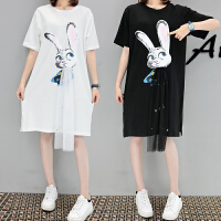 大码女装网纱短袖T恤女2018夏装卡通印花宽松中长款体恤裙200斤