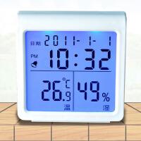 萌味 室内温度计 办公室电子数显多功能温湿度计家用温度计温湿度计台式温度表背光闹钟