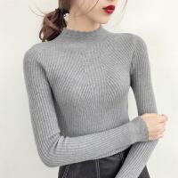 半高领针织衫毛衣女2017秋冬季新款韩版套头上衣长袖修身紧身打底针织衫上衣