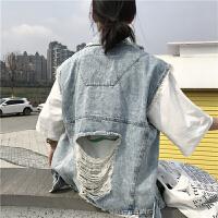 春装女装韩版个性破洞做旧毛边宽松牛仔夹克学生无袖外套马甲背心