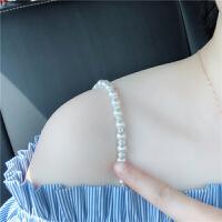 2018新款女透明隐形无痕配件内衣胸罩一字领珍珠水钻百搭 白色带钻无弹送全珠一对 挂钩宽1.8