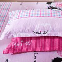 棉枕套 棉单人枕皮枕芯套子枕头套一对装 不含芯大部分 浪漫满屋 48cmX74cm
