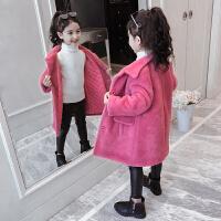 儿童外套洋气冬季2018新款韩版女孩毛毛衣毛呢大衣