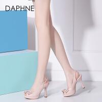Daphne/达芙妮春夏新款女鞋 鱼嘴细高跟蝴蝶结百搭休闲女凉鞋