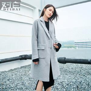 对白时尚斜纹毛呢外套女中长款冬季新款直筒长袖呢大衣