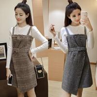 2017秋冬季新款韩版吊带格子毛呢背带裙长袖两件套连衣裙套装裙女