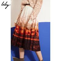 【2件4折到手价:211.6元】 Lily秋新款女装艺术感油画风印花百褶裙半身裙119340C6264