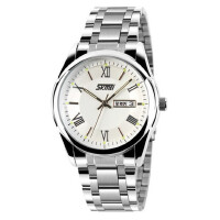 男士简约风指针日历防水时尚商务手表潮流时尚钢带石英手表