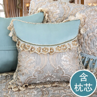 靠枕沙发靠背垫含芯卧室家用现代简约抱枕靠垫 客厅 欧式T 慕羽 水蓝(含芯)