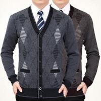 中老年人针织衫加厚男士秋冬季毛衣外套爸爸装开衫中年男式毛线衣