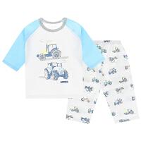 夏季薄款幼儿童睡衣男童女童宝宝中袖空调服小孩中大童